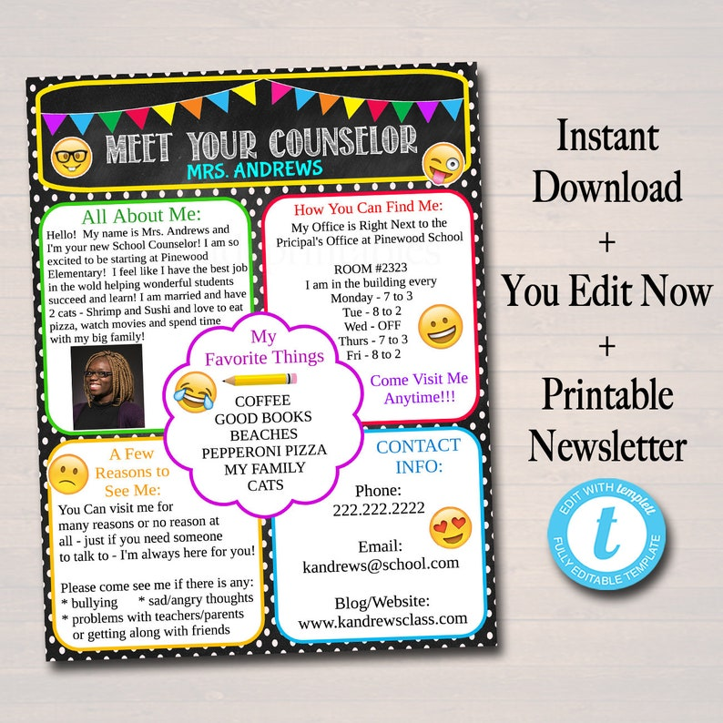 EDITABLE School Counselor Newsletter Template, INSTANT DOWNLOAD, Teacher  Newsletter, Parent Communication Form, Back to School Printables