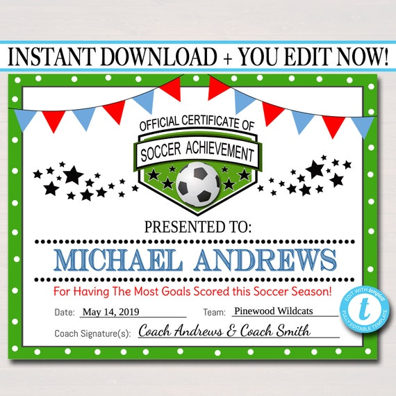 graphic relating to Printable Soccer Certificates titled EDITABLE Football Award Certificates, Immediate Obtain, Staff Football Awards, Football Social gathering Printable, Sportsmanship Awards, Sporting activities Certificates