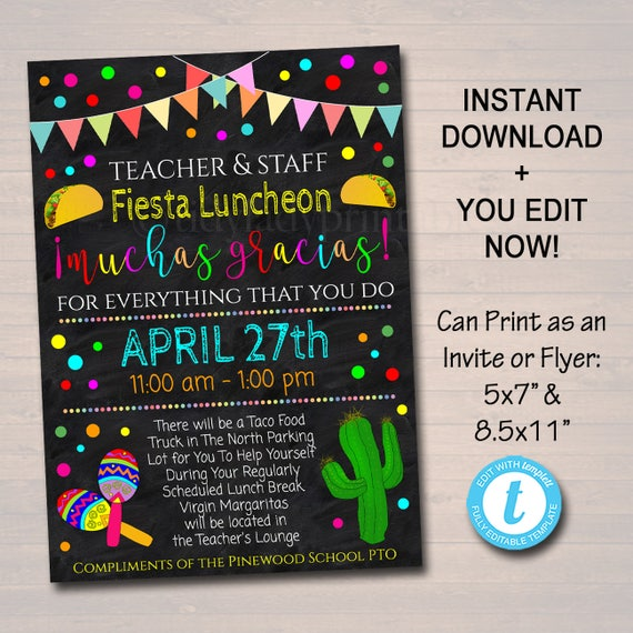 Editable Fiesta Invite Teacher Appreciation Staff Invitation Etsy