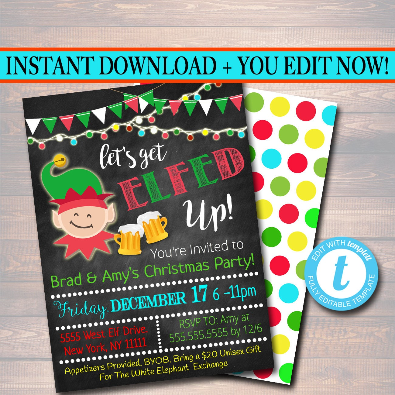 Printable Let S Get Elfed Up Invitation Christmas Party Etsy