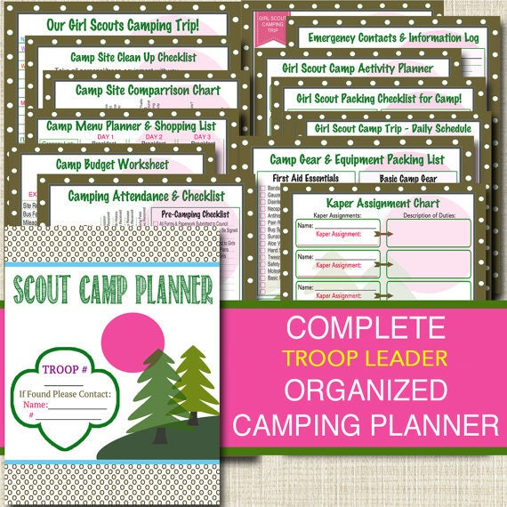 Campout Planner Pack Instant Download Troop Leader Forms Etsy
