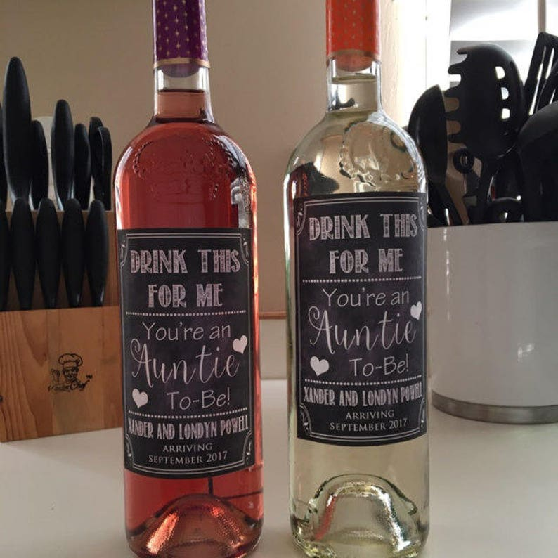 Drink This For Me You/'re An Auntie To Be Digital Wine Label Pregnancy Announcement New Aunt Gift Sister Promoted to Aunt Pregnancy Reveal