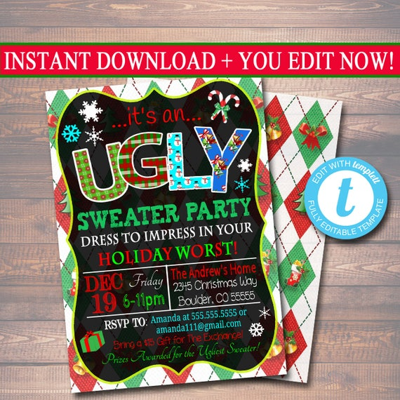 Editable Ugly Sweater Party Invitation Christmas Party Etsy