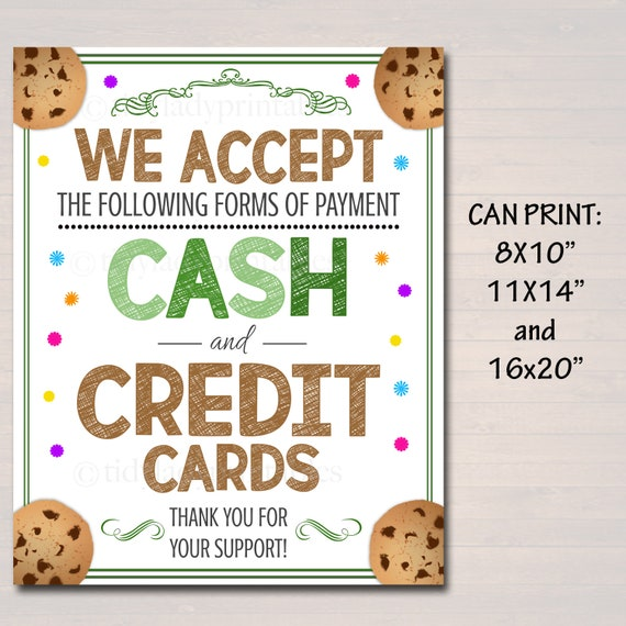 graphic relating to We Accept Credit Cards Printable Sign identified as PRINTABLE Credit score Card Indication, Fundraising Booth, Bake Sale