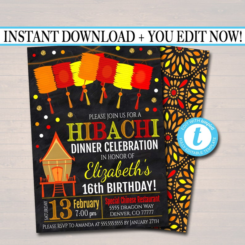 editable hibachi dinner party invitation party invite