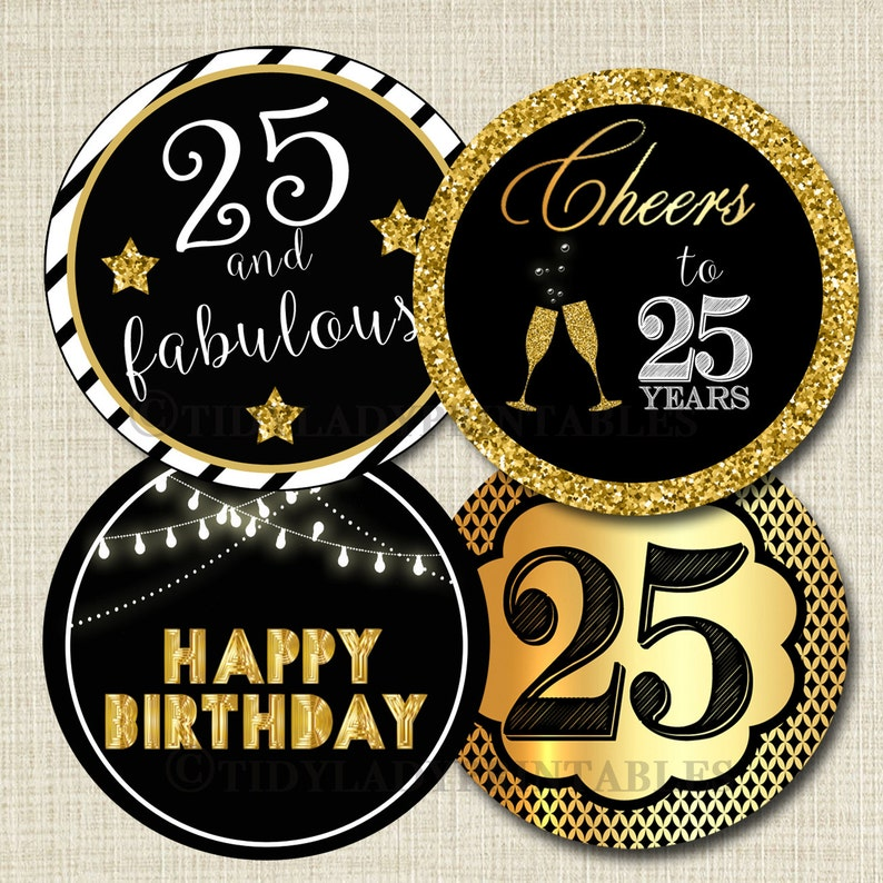 25th Birthday Cupcake Toppers PRINTABLE Cheers To Twenty Five