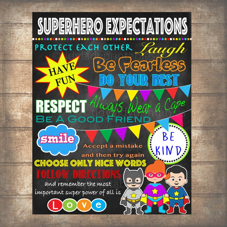 image about Classroom Rules Printable referred to as Superhero Clroom Legal guidelines Poster, PRINTABLE, Fast Obtain SuperHero Trainer Signal, Superhero Bed room Decor, Superhero Chalkboard Wall Artwork