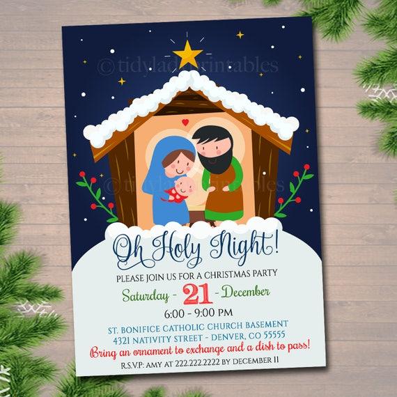 Edytowalne Religijnej Boże Narodzenie Zaproszenie Powodem Etsy