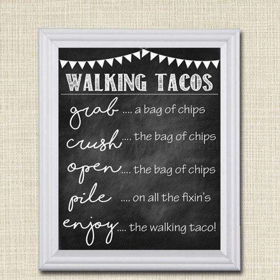 Walking Tacos Sign Walking Taco Bar Diy Taco Bar Make Your Etsy
