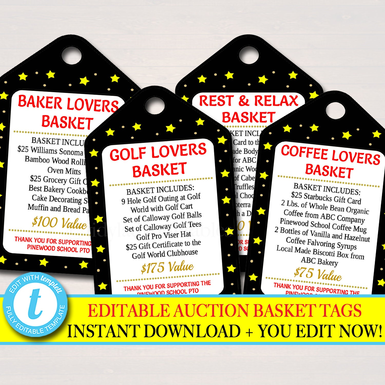 bc9b0478a70 EDITABLE Auction Basket Tags Fundraiser Digital Invite Black