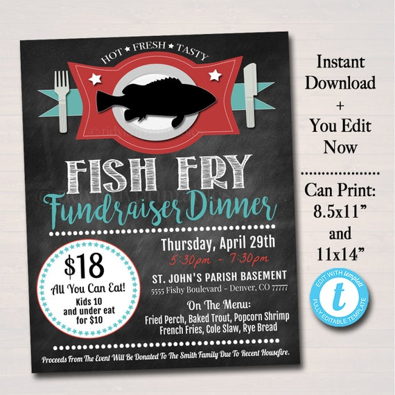editable fish fry flyer printable pta pto flyer benefit etsy