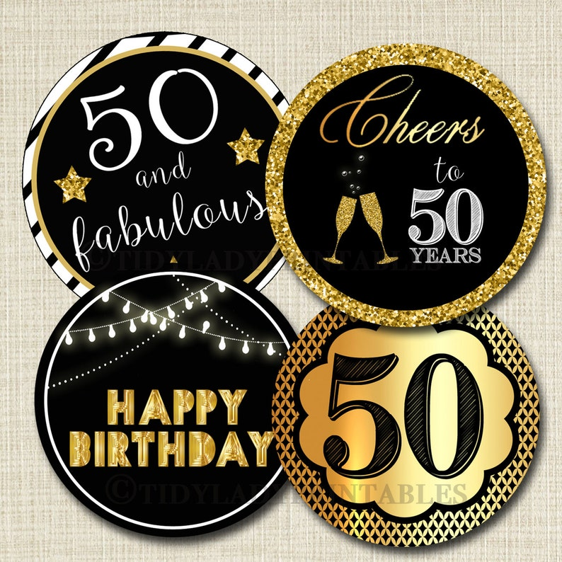 50th Birthday Cupcake Toppers PRINTABLE Cheers To Fifty Years