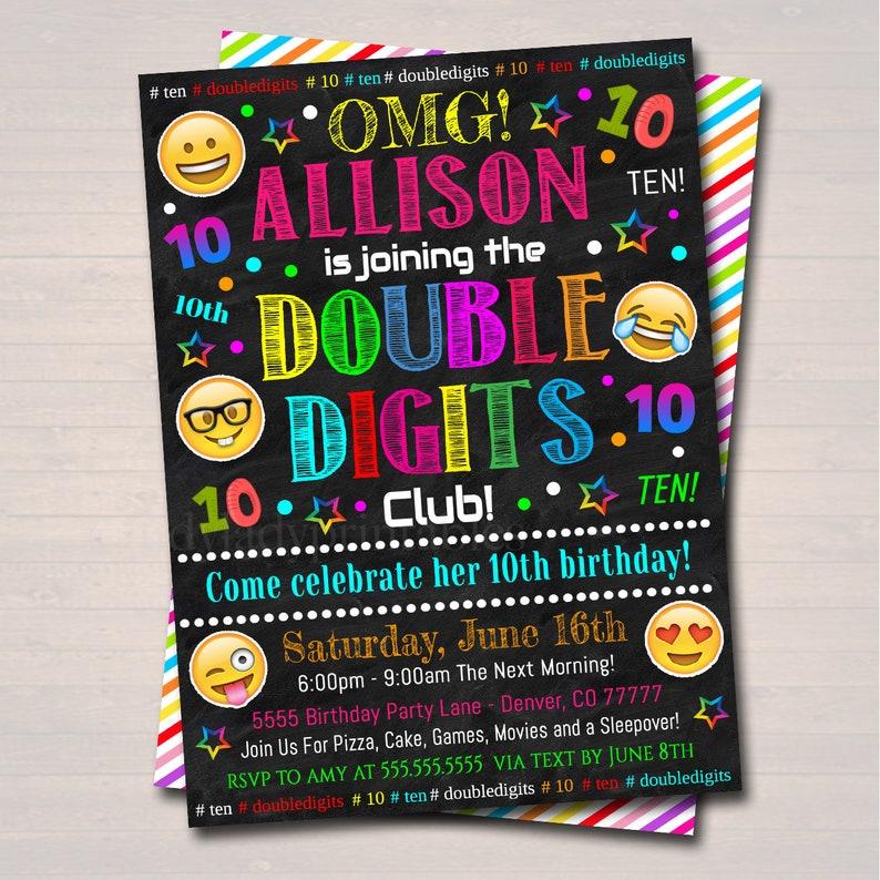 EDITABLE Double Digits Club Party Birthday Invitation INSTANT DOWNLOAD Birthday Digital Sleepover 10th Birthday Emoji Girl Tween Invite