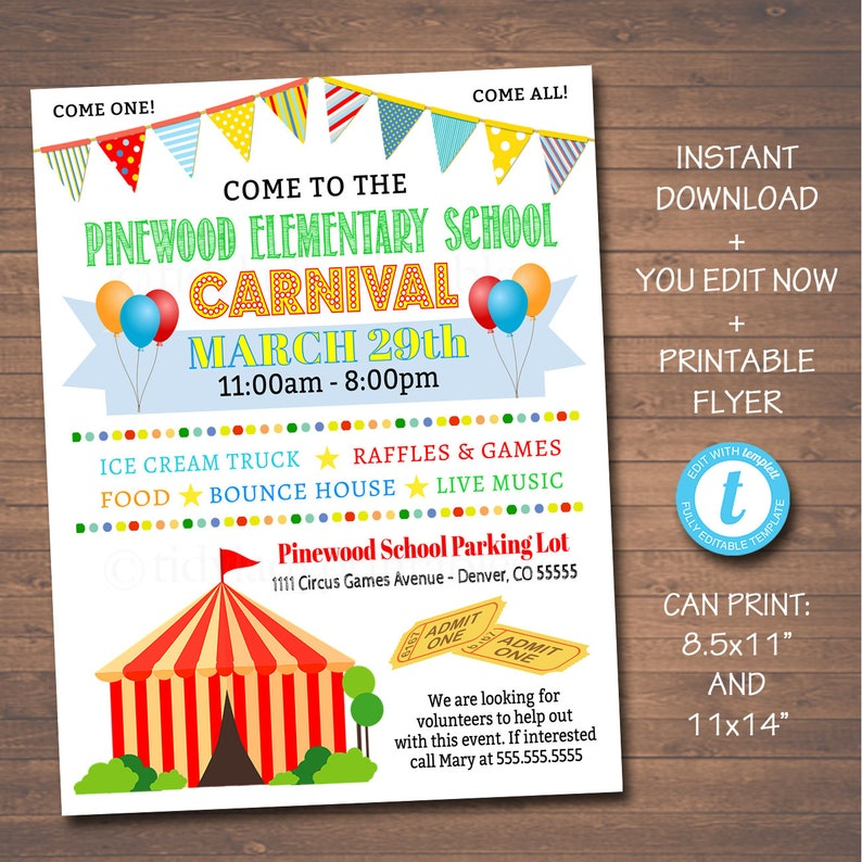 photo regarding Flyers Printable Schedule called EDITABLE Carnival Flyer, Printable PTA PTO Flyer, University Church Advantage Fundraiser Function Poster, Electronic Circus Social gathering Printable Invitation