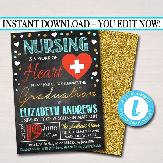 photograph relating to Nurse Graduation Invitations Printable identified as Editable Nurse Commencement Invitation Chalkboard Printable