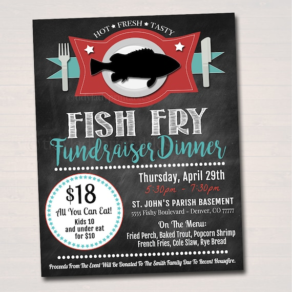 editable fish fry flyer printable pta pto flyer benefit fundraiser event poster church benefit lent friday fish fry printable invitation