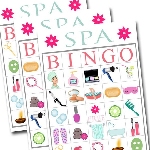 Spa Bingo Printable Game Girls Party Beauty
