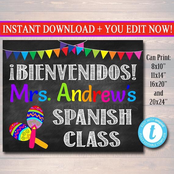 spanish teacher classroom door sign bienvenido printable etsy