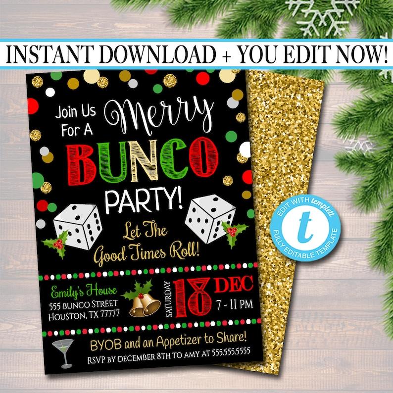 EDITABLE Christmas Bunco Party Invitation Holiday Merry Bunco image 1