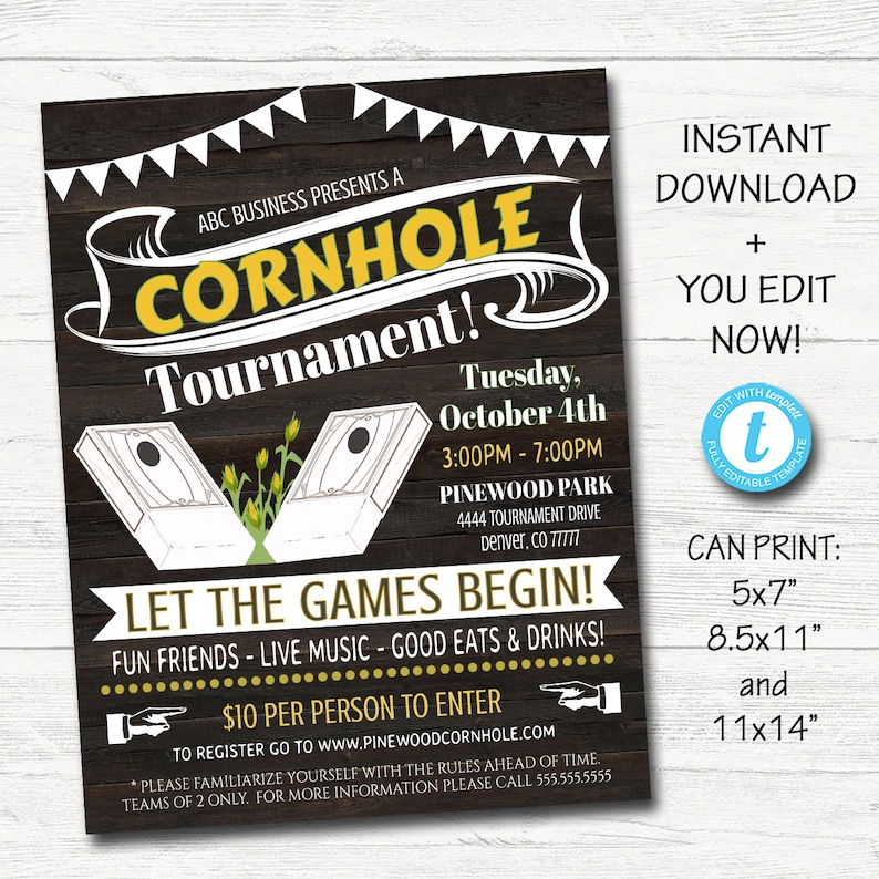 graphic regarding Printable Cornhole Rules referred to as EDITABLE Cornhole Invite Flyer, Printable Business office College or university Church Ease Fundraiser Occasion Poster, Electronic Summer time Drop Back garden Social gathering