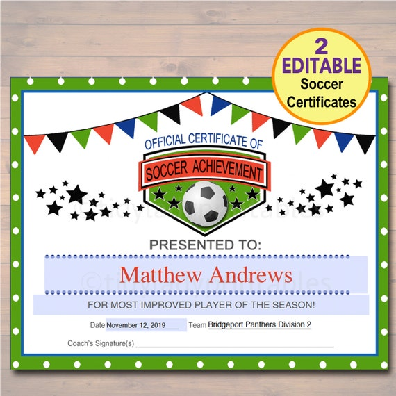 editable soccer award certificates instant download team etsy