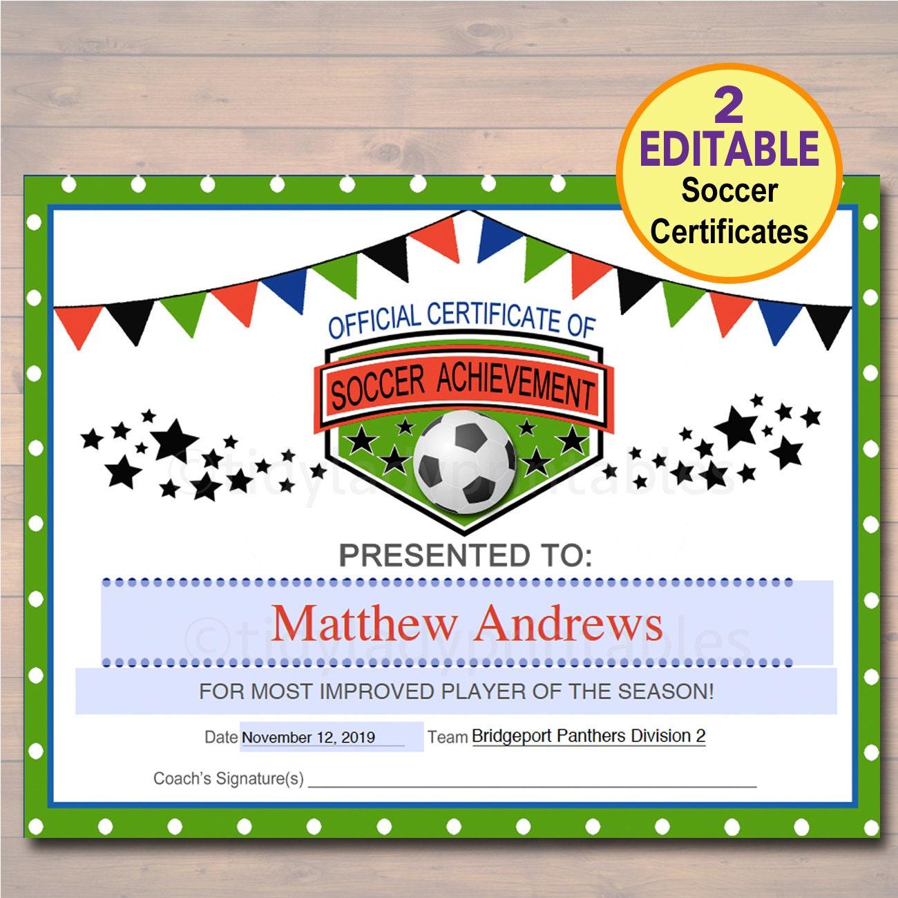 Editable Soccer Award Certificates Instant Download Team Etsy
