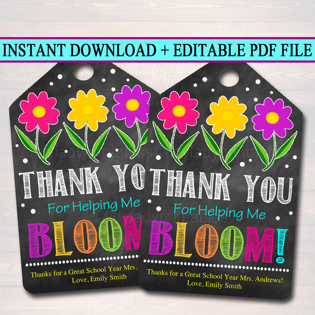 Editable Printable Gift Tags Thank You For Helping Me Bloom Etsy