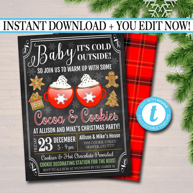 Editable Hot Cocoa Cookies Xmas Party Invitation Adult Etsy