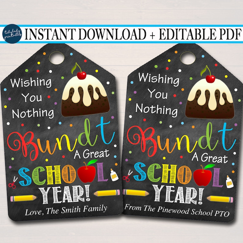 photo about Nothing Bundt Cakes Coupons Printable referred to as EDITABLE Bundt Cake Reward Tags, Very first Working day of University Personnel Instructor Reward, Printable Cake Label Wishing Yourself a Terrific College or university Calendar year Immediate Down load