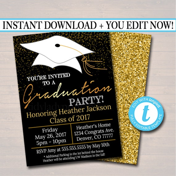 Editable graduation party invitation high school graduation etsy image 0 filmwisefo