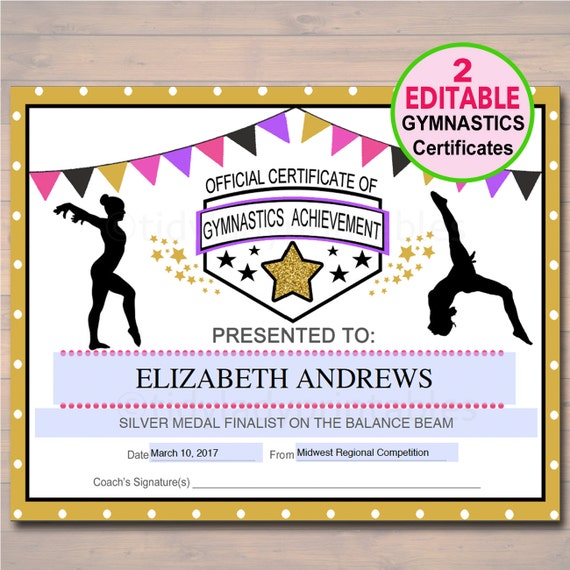 Editable Gymnastics Certificates Instant Download Gymnastics