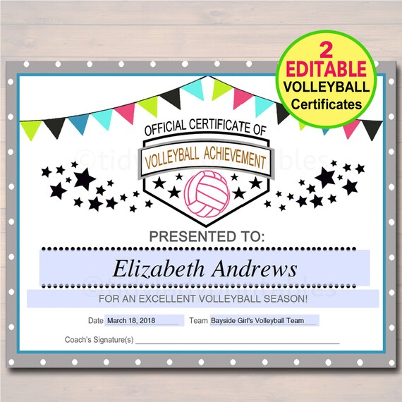 EDITABLE Volleyball Certificates INSTANT DOWNLOAD Volleyball