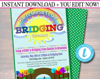 EDITABLE Bridging Invitation INSTANT DOWNLOAD, Bridging Certificate, Troop Bridging, Scout Printable Ceremony Invitation