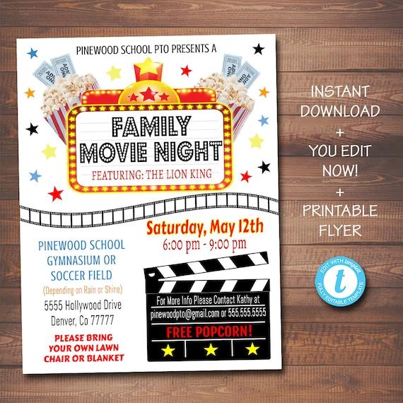 Editierbare Movie Night Flyer Druckbare Pta Pto Flyer Schule Etsy