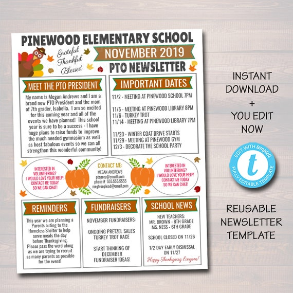 November Pto Pta Newsletter Flyer Holiday Printable Handout School Year Calendar Meeting Agenda Seasonal Fall Organizer Editable Template By Tidylady Printables Catch My Party