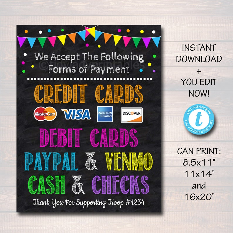 photo regarding We Accept Credit Card Signs Printable known as EDITABLE Credit rating Card Signal, Fundraising Booth, Bake Sale, Cookie Booth Indication We Acknowledge Credit history Playing cards Scouts Cookie Banner, Cookie Booth Poster