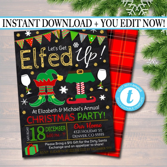 Printable Lets Get Elfed Up Invitation Christmas Party Etsy