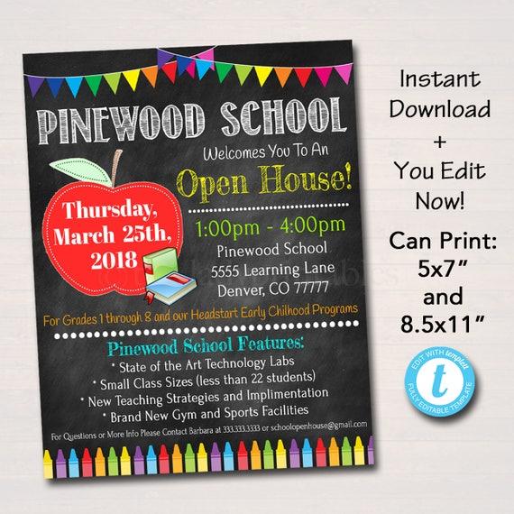 editable school open house flyer printable pta pto flyer