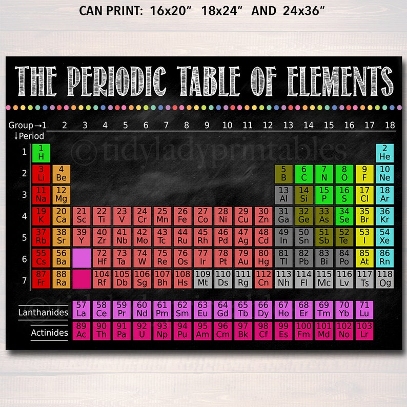 photograph relating to Periodic Table of Elements Printable referred to as Periodic Desk of Factors, Clinical Printable Poster, Chemistry Clroom Decor Quick Down load Science Lab Instructor Chalkboard Printable