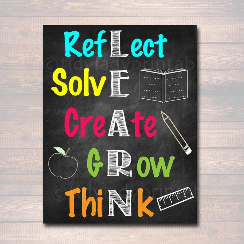 How Teachers Can Create Growth Mindset >> Learn Acronym Poster Growth Mindset Instant Download Printable Motivational Wall Art School Office Classroom Decor Teacher Chalkboard