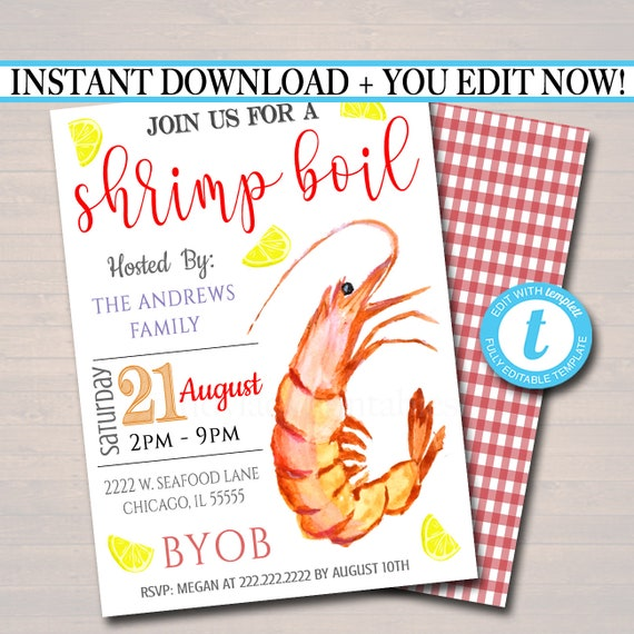image relating to Crawfish Boil Invitations Free Printable named EDITABLE Shrimp Boil Invitation, Very low Place Enterprise Picnic