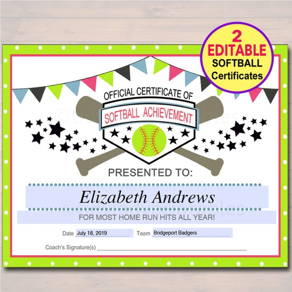 editable softball certificates instant download softball etsy