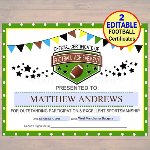 editable football award certificates instant download team etsy