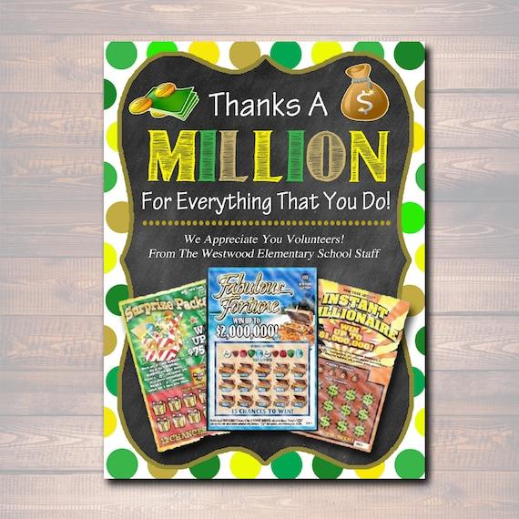EDITABLE Thank You Lottery Ticket Holder, Printable Teacher
