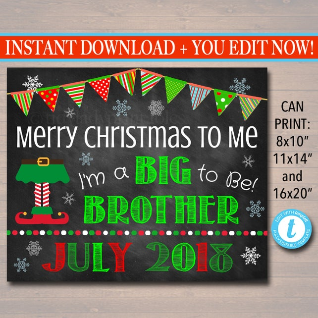 photo relating to Merry Christmas Sign Printable known as Xmas Significant Brother Being pregnant Announcement, Printable