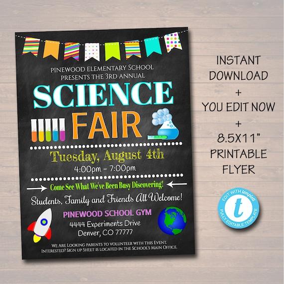 editable science fair flyer printable school academic etsy