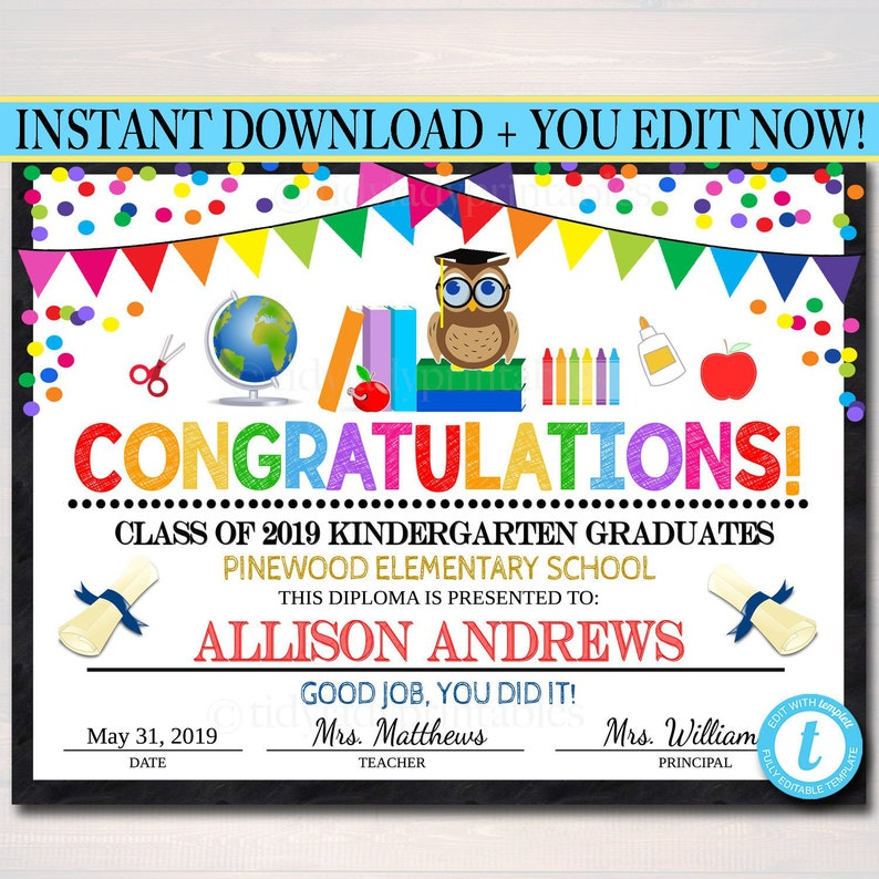 This is a photo of Soft Printable Graduation Certificate