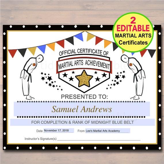 EDITABLE Martial Arts Certificates INSTANT DOWNLOAD Karate