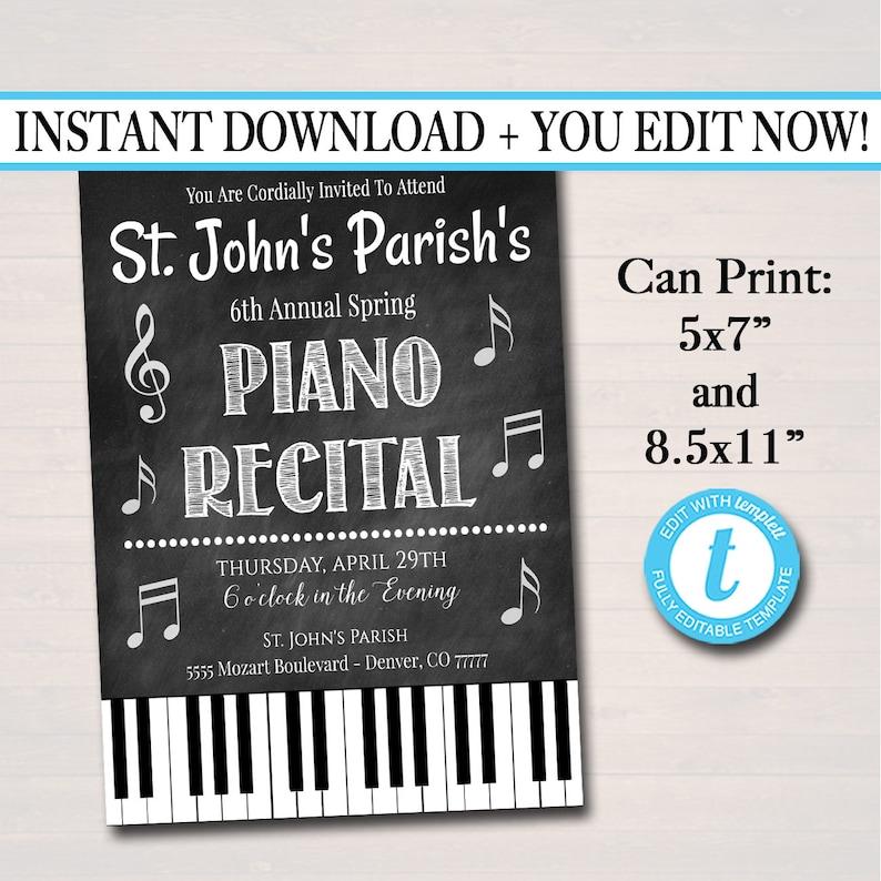 Editable Piano Recital Invitation Flyer Piano Music Etsy
