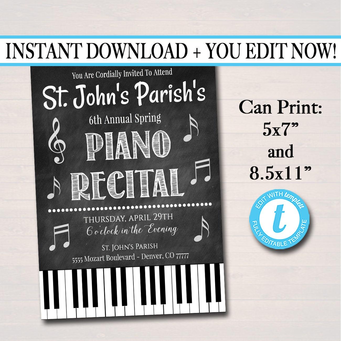 editable piano recital invitation  flyer piano music